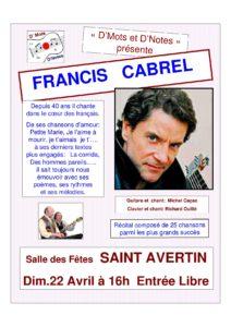« D'Mots et D'Notes » présente Francis Cabrel # Saint - Avertin @ Salle des fêtes | Saint-Avertin | Centre-Val de Loire | France